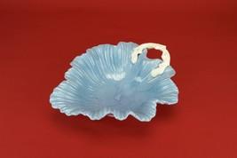 Pottery Cereal Arts Crafts Blue Leaf BOWL Servi... - $28.49