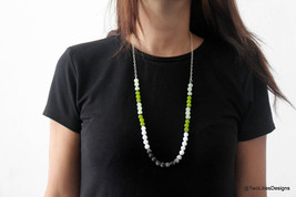 Long beaded necklace, Sterling silver long necklace, Ice quartz beads, A... - $64.80