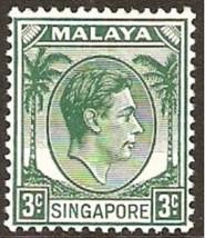 1948 King George VI Singapore Postage Stamp Catalog Number 3 MNH