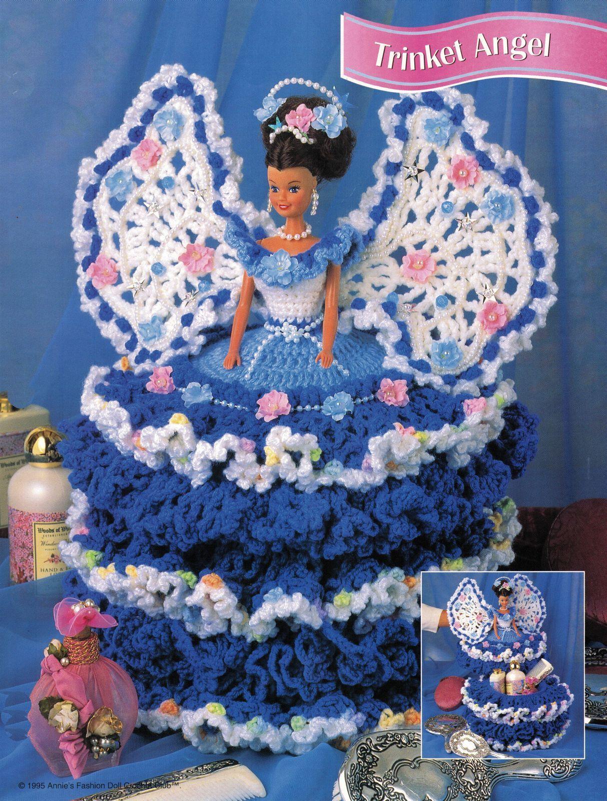 "3X Barbie 11-1/2"" Doll Angel Frills & Ruffles & Bows Trinket Box Crochet Pattern image 5"
