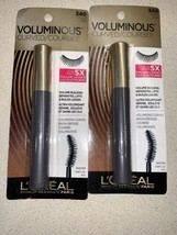 X2 Loreal Paris Voluminous Curved 5x Fuller Lashes Mascara 340 Black Makeup NEW - $15.83