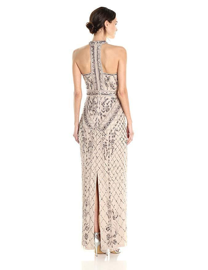 Adrianna Papell Women's Dress Halter Beaded Column Gown