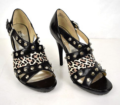 Michael Kors Shoes Stiletto High Heels Black Leather Leopard Print Studd... - $49.43