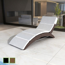 Patio Outdoor Poly Rattan Wicker Foldable Sunbed Lounger Garden Black/Brown - $153.99
