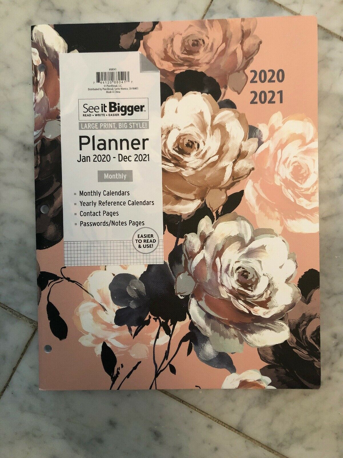 Primary image for Plan Ahead See It Bigger Large Pink Peony 2 Year Monthly Planner for 2020 - 2021