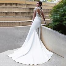 New Sexy Long Sleeve Lace Illusion High Neck Mermaid Wedding Dress image 3