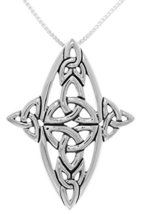 Jewelry Trends Sterling Silver Celtic Trinity Knot Cross Pendant on 18 I... - $43.18