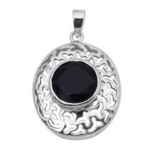 Black Onyx Gemstone Oval Shape Pendant Celtic Design 925 Sterling Silver... - $29.31