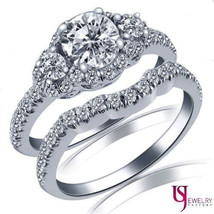 1 1/3 Ct Three Stone Diamond Engagement Ring Matching Wedding Band Set 1... - £3,018.88 GBP