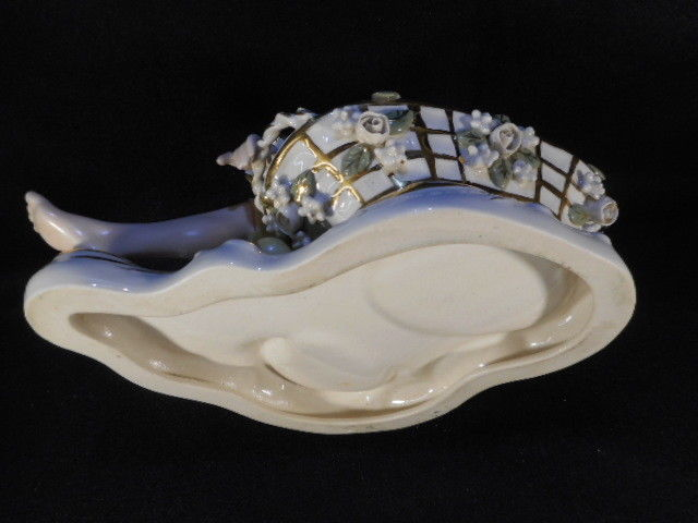 Victorian Porcelain Pair Man and Woman Figural Candy Dishes Signed Nadia