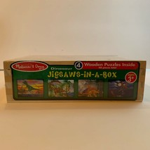 Melissa & Doug Dinosaur Puzzle Jigsaw in a Box 4 Wooden Puzzles 48 pieces NIB - $17.95