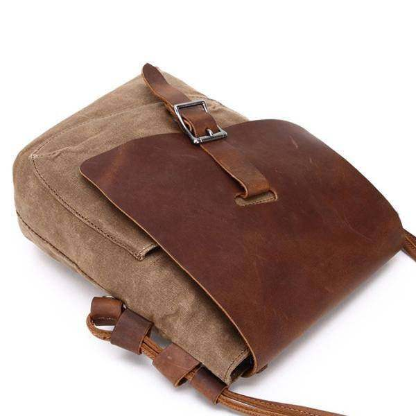 Sale, Leather with Canvas Crossbody Bag, Canvas Messenger Bag, Vintage Messenger image 6