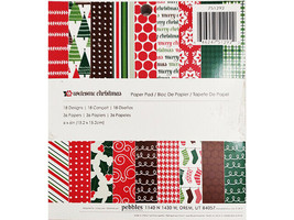 """Pebble 6x6"""" Welcome Christmas Paper Pad, 36 Pages, Cardstock, Cards, Holidays"""