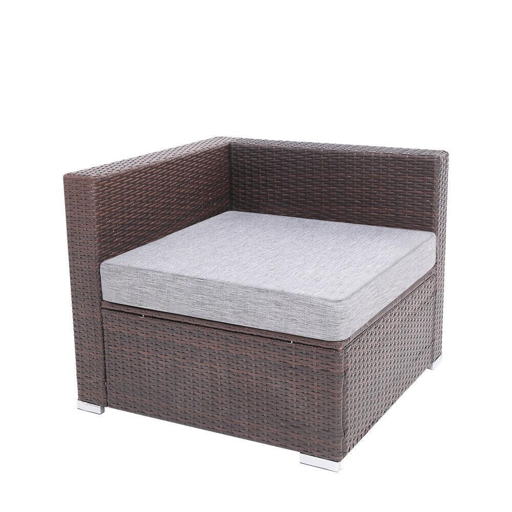 7 Pieces Patio PE Wicker Rattan Corner Sofa Set image 9