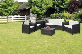 XL Outdoor Black Rattan Sofa Set Contemporary Garden Sofa Chair Table Pa... - $677.86