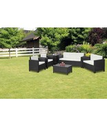 XL Outdoor Black Rattan Sofa Set Contemporary Garden Sofa Chair Table Pa... - $677.86