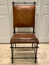 Ilana Goor Design Mid-Century Modern Leather and Iron Arm Chair - $499.00