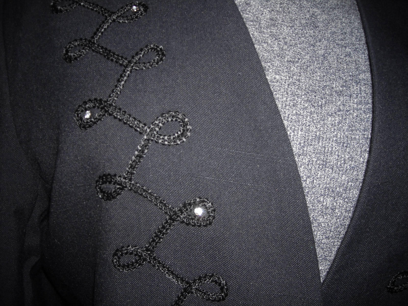 Women's Executive Collection Black Dress Jacket With Embroidery & Rhinestones 14 image 3