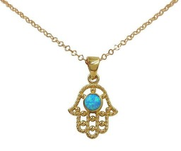 14K Gold Filled HAMSA NECKLACE Pendant Hand of Fatima Evil Eye with Blue... - $18.61