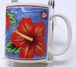 Hilo Hattie Coffee Mug Blue Red Hawaiian Hibiscus Floral Tea Cup10 oz VT... - $24.14
