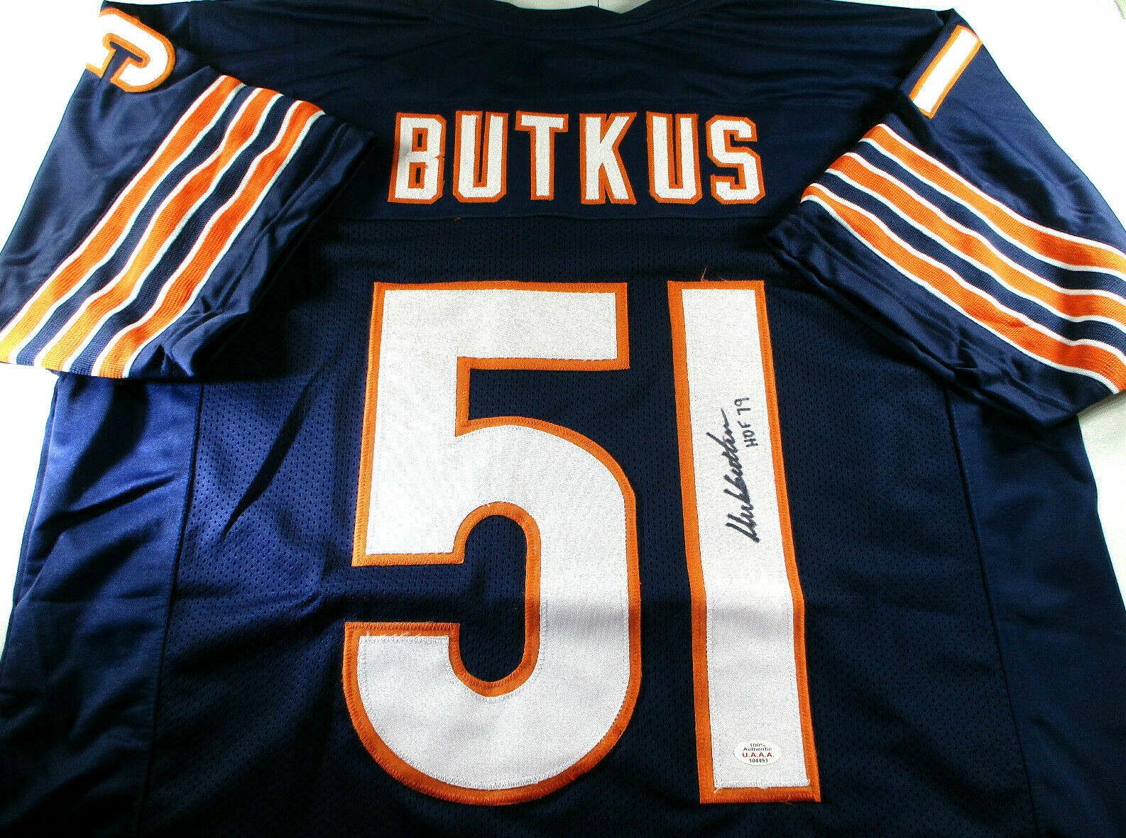 DICK BUTKUS / NFL HALL OF FAME / AUTOGRAPHED CHICAGO BEARS CUSTOM JERSEY / COA