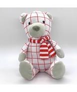 Manhattan Toy Company Teddy Bear Pattern Plush Merry Stuffed Animal Red ... - $12.42