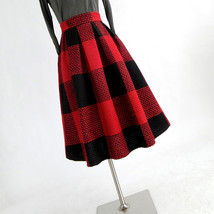 NAVY BLUE PLAID Midi Party Outfit Women Winter Wool Plaid Party Skirt Plus Size image 8