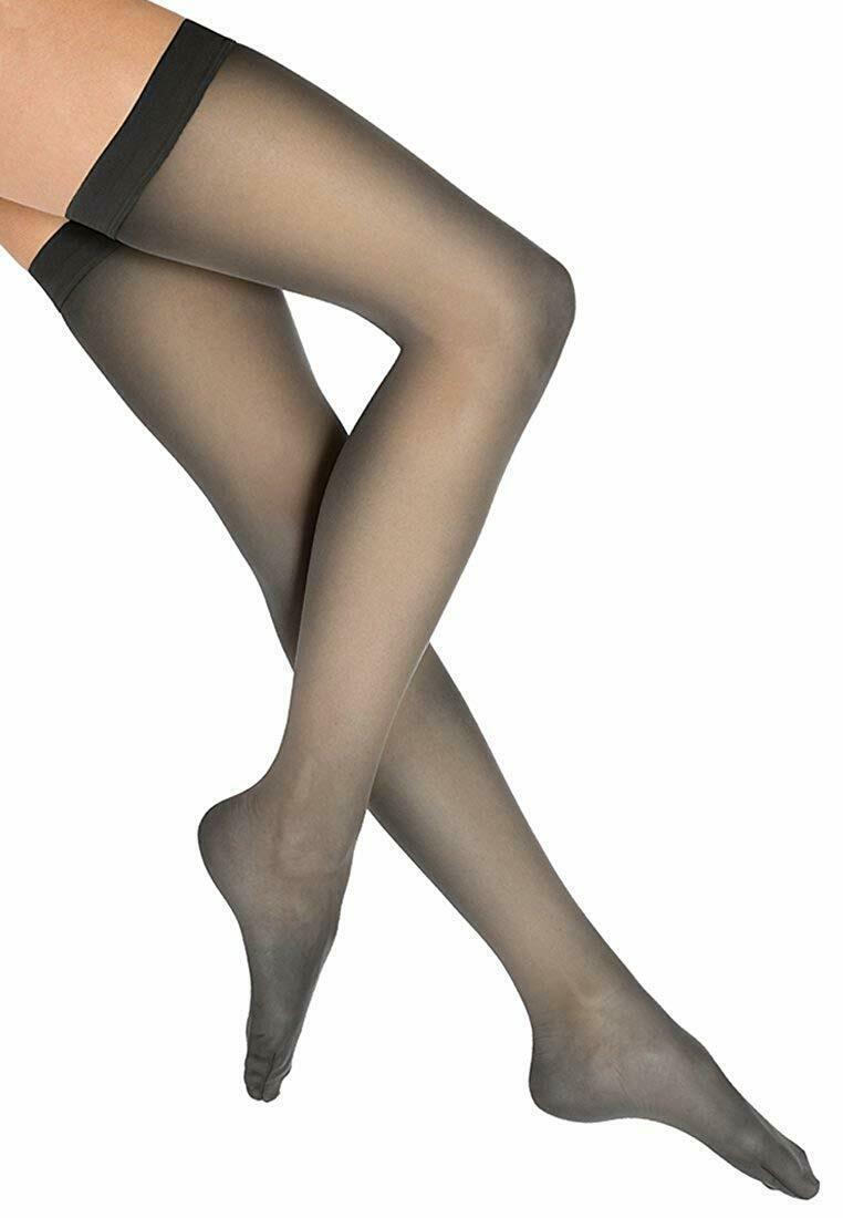 Wolford BLACK Individual 10 Denier Thigh Highs, US Medium