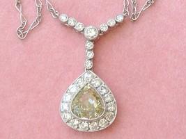 "ESTATE ART DECO 1.77ct FANCY GREENISH-YELLOW PEAR DIAMOND PENDANT 16"" NE... - $6,434.01"