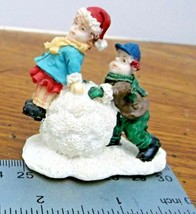 Boy Girl Making a Snowman Mini Christmas Village Accessory Resin - $9.89
