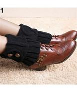 Black Winter Leg Warmers Socks Button Crochet Knit Boot Socks Toppers Cu... - $5.89+