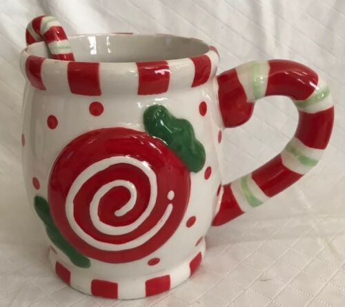 Cracker Barrel Ceramic Christmas Embossed Sweets & Treats Mug & Spoon Set Candy image 4