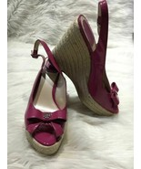 Christian Dior women wedge sandals purple size 38.5 espadrilles b14 - $83.20