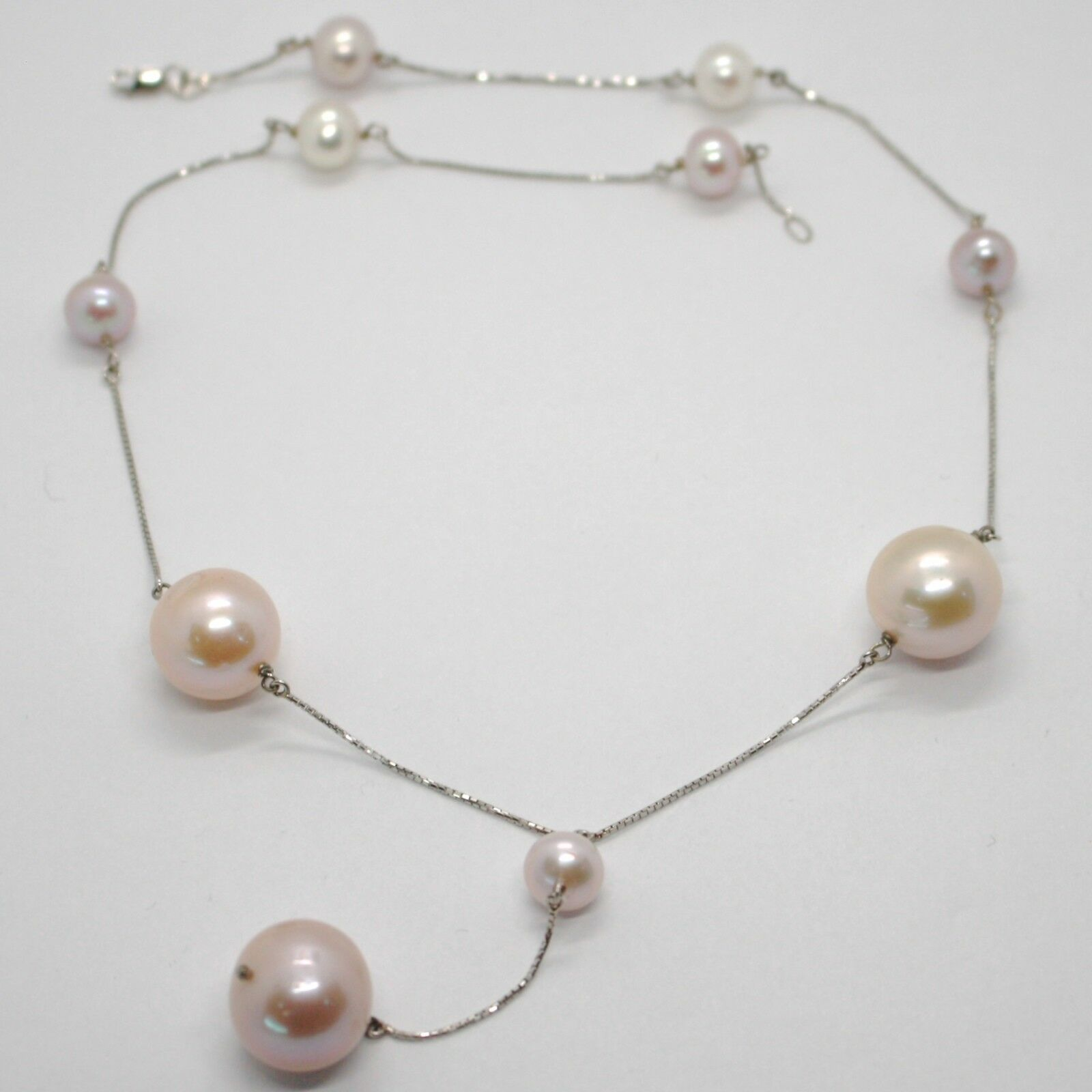 18K WHITE GOLD LARIAT NECKLACE, VENETIAN CHAIN WHITE & PURPLE BIG PEARLS 16 MM