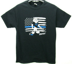 D.A.R.E. Size Medium T Shirt Black Lion Flag Print - $11.95