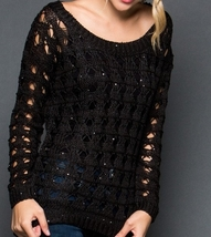 Black Sequin Sweater, Black Sequin Sweaters, Loose Knit Sweater, GeeGee, Womens image 2