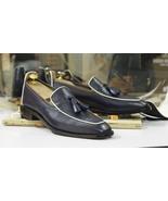 Tasseled Navy Blue Loafer Leather Shoes,Men's Formal Dress Foot Wear  - $159.97 - $189.97