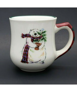 Pfaltzgraff Snow Bear Polar Bear With Potted Plant Stoneware Mug Cup 14oz - $11.99