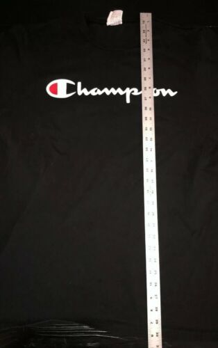Champion Vintage 90's Script Logo Men's Black Tee T-Shirt XL Extra-Large. BT33