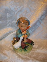 VINTAGE ERICH STAUFFER BARNYARD FROLICS FIGURINE BOY WITH DUCK HAND PAINTED - $11.87