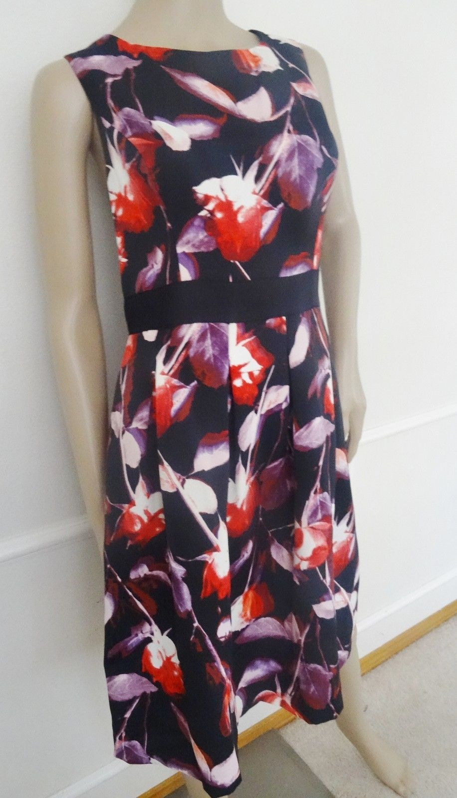 Nwt Adrianna Papell Sleveless Cocktail Flare Dress Sz 14 Black Red Floral $170