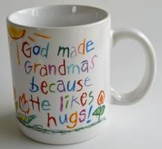 1996 Hallmark ~ God Made Grandmas Because He Likes Hugs ~ Coffee Cup Mug Crayon - $17.95