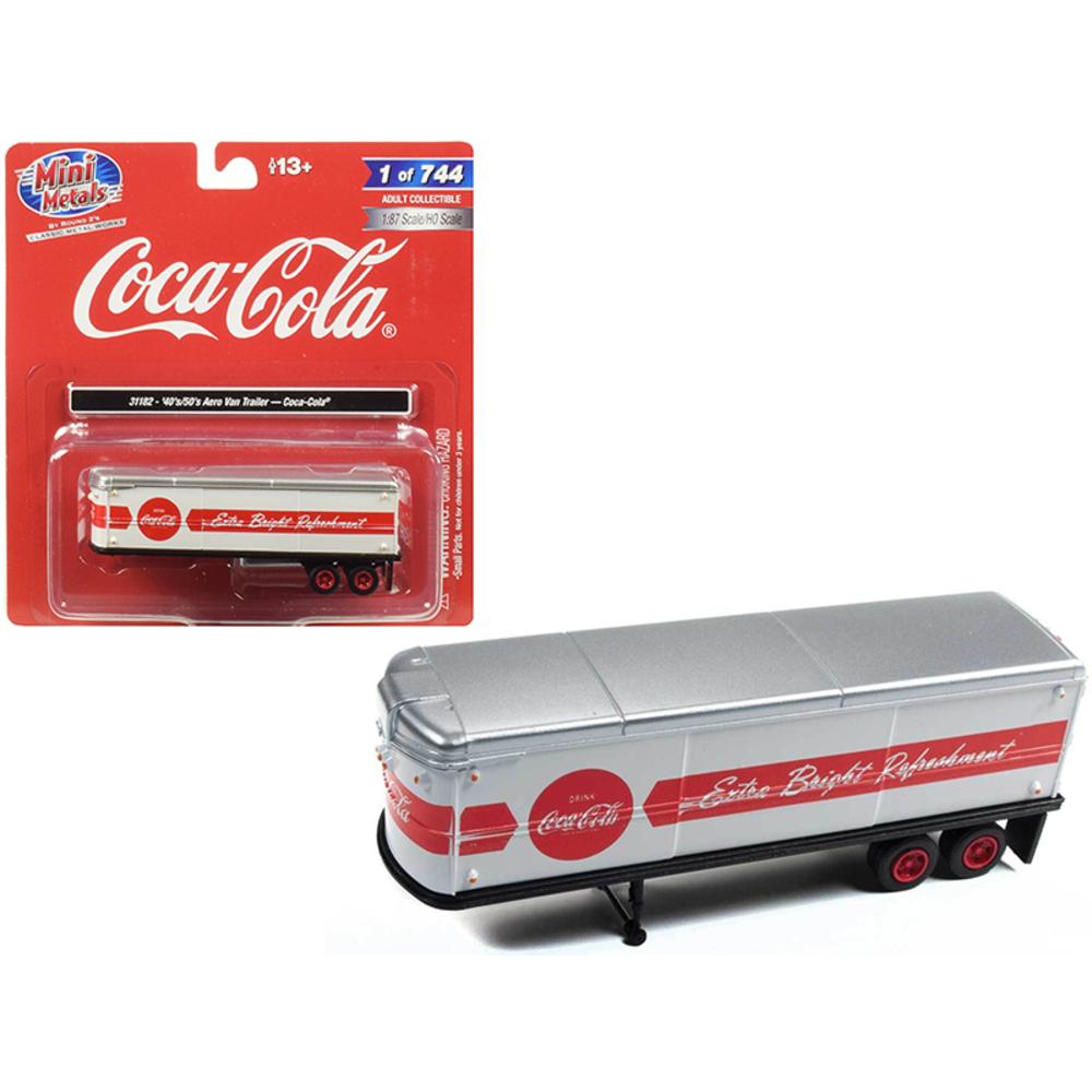 1940s-1950s Aerovan Trailer Coca Cola White with Red Stripe 1/87 (HO) Scale Mode