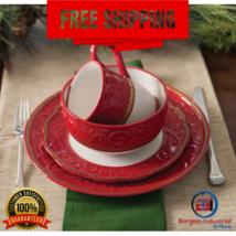 Ceramic Christmas Holiday Dinnerware Set 16-PCS Service for 4 Plates Bow... - $195.99