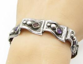 TAXCO 925 Silver - Vintage Amethyst Beaded Banner Linked Tennis Bracelet... - $134.35