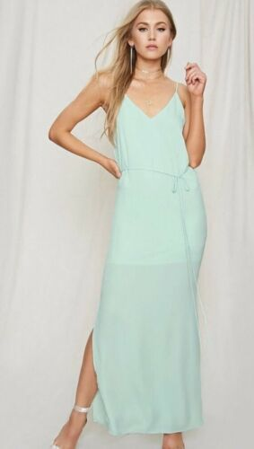 Forever 21 Pretty By Rory Mint Seafoam Chiffon Cami Strappy Long Maxi Dress XS