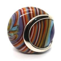 Ring Antica Murrina, Murano Glass, Disco Convex, Thousand Righe, Purple Pink image 2