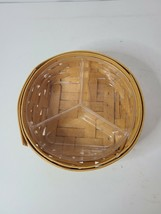 Longaberger Basket Round Handwoven With Removable Plastic Divided Lining - $20.99