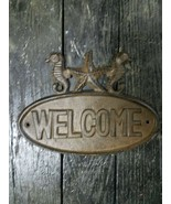 Welcome Sign Oval Cast Iron Entryway Door Plaque StarFish & SeaHorses - $17.81