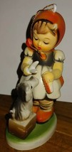 "Vintage Christmas Ornament Girl Dog Plastic Orange Bonnet Hong Kong 4"" - $5.94"